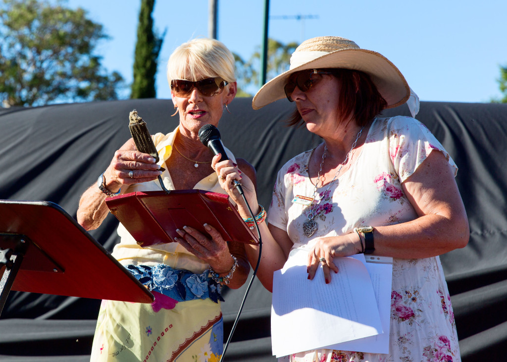 Gina Campbell and Deputy Shire President, CR Jacki Ball with a piece of Donald Campbell's seat webbing from Bluebird.